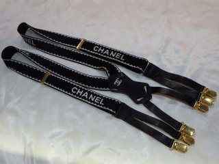 CHANEL ロゴ サスペンダー ブラック ヴィンテージ シャネル