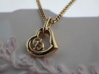 クリスチャンディオール ハート ロゴ トップ ネックレス ゴールドカラー