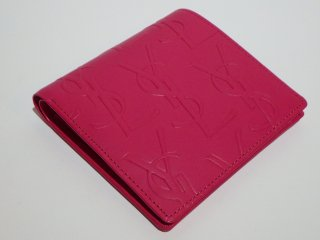 Yves Saint Laurent ヴィンテージ サンローラン YSLロゴ ショッキングピンク 二つ折り財布
