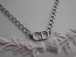 Christian Dior ヴィンテージ ディオール CDロゴ シルバーカラー ネックレス