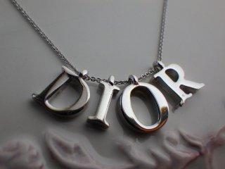 Christian Dior ヴィンテージ ディオール Diorロゴ シルバーカラー ネックレス