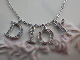 Christian Dior ヴィンテージ ディオール Diorロゴ ラインストーン シルバーカラー ネックレス
