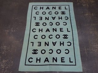 VINTAGE CHANEL ヴィンテージ シャネル ココマーク ロゴ ビーチタオル ライトブルー
