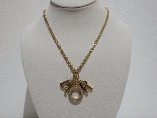 Christian Dior ディオール ラインストーン Diorロゴ ゴールドカラー ネックレス