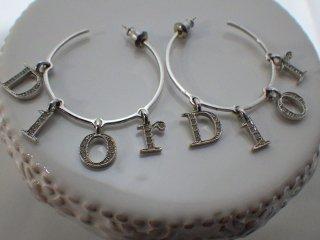 Christian Dior ヴィンテージ ディオール Diorロゴ ラインストーン スイング シルバーカラー フープ ピアス