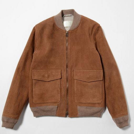 Goat Suede Leather Bomber Jacket
