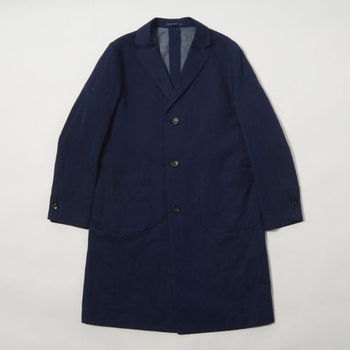 Indigo Dye Cotton Linen Atelier Coat