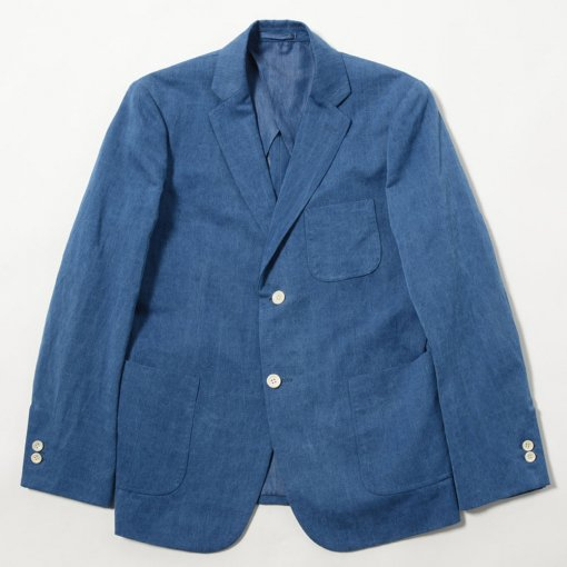 Indigo Dye Cotton Linen 2 Button Jacket