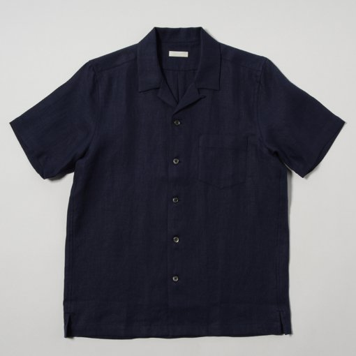French Linen Open Collar S/S Shirt