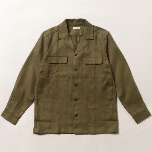 Soft Brushed Irish Linen Open Collar Shirt Jacket