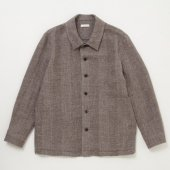 Shetland Wool Linen Herringbone Shirt Jacket
