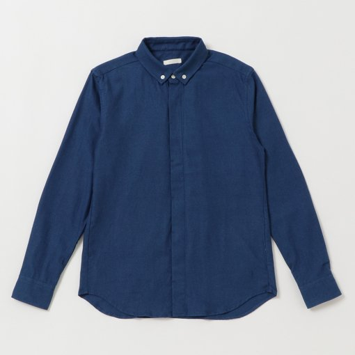 Indigo Dye Cotton Flannel Fly-front B/D Shirt