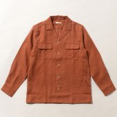 Soft Brushed Irish Linen Open Collar Shirt Jacket (Sample)