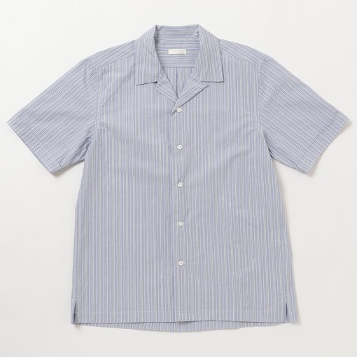 Typewriter Cotton Pinstriped Open Collar S/S Shirt