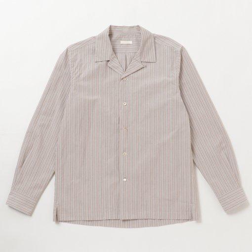 Typewriter Cotton Pinstriped Open Collar L/S Shirt