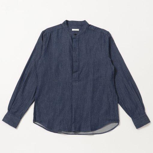 Lightweight Cotton Wool Denim Stand Collar P/O Shirt