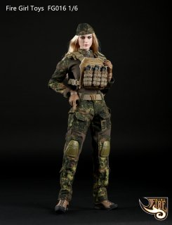 1//6 Fire Girl Toys Accessory FG015 Female Shooter Camouflage Clothe Suit Uniform