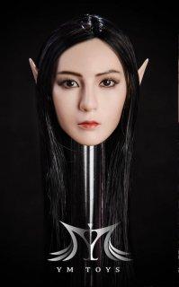 1/6 YMtoys ヴァンバイア Elf B  美人女性ロングヘア サンタン肌ヘッド 耳入り替え可