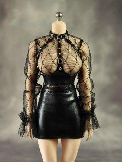 送料無料 1/6 ART 2020ガールズ  セクシー透明ヒップスカートコルセットパック革服セット