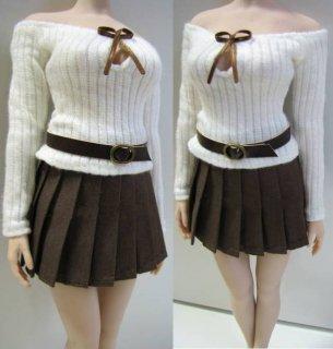 送料無料 1/6 Charlie's Angels 2021ガールズ  コーヒースタイル 女子高生 セクシー セーターとスカートとベルトセット