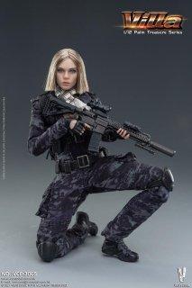 <img class='new_mark_img1' src='https://img.shop-pro.jp/img/new/icons1.gif' style='border:none;display:inline;margin:0px;padding:0px;width:auto;' />予約 送料無料 1/12 VERYCOOL VCF-3005 ヴィラ Palm Treasure Black MC Camouflage Women Soldier- Villa 迷彩美人