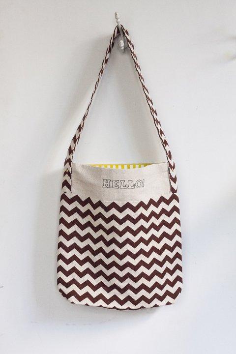 Luika TATE ToteBag Type:B ブラウン刺繍入り