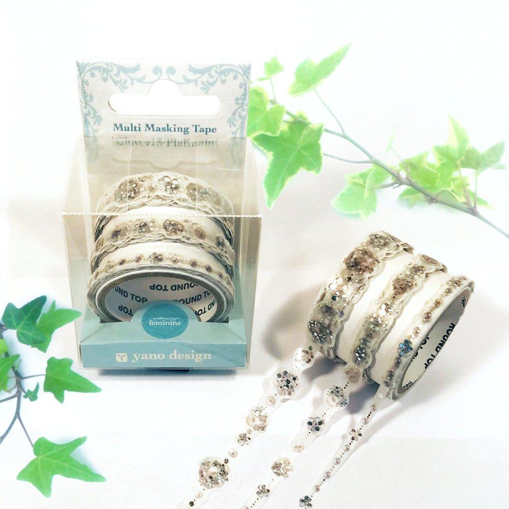 yano design - 箔押しマスキングテープ feminine Multi Masking Tape / Clover:3Platinum