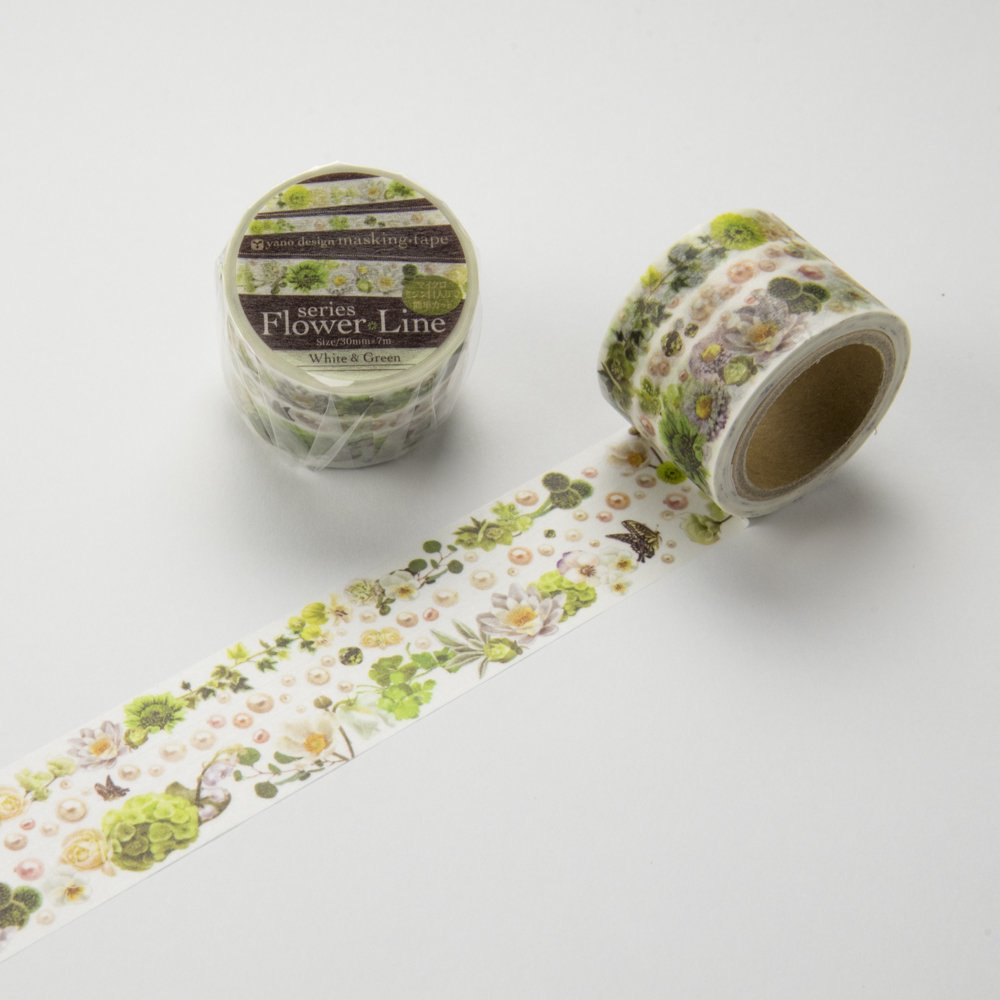 yano design - マスキングテープ Flower Line 30mm / White&Green