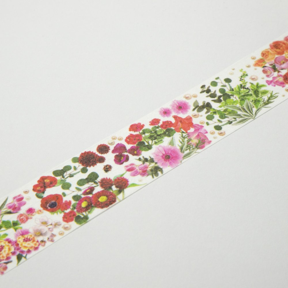 yano design - マスキングテープ Flower Line 30mm / Red&Pink