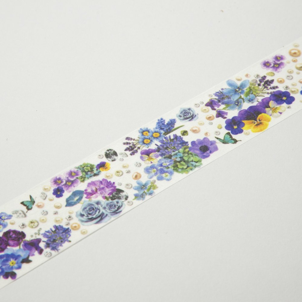 yano design - マスキングテープ Flower Line 30mm / Blue&Violet