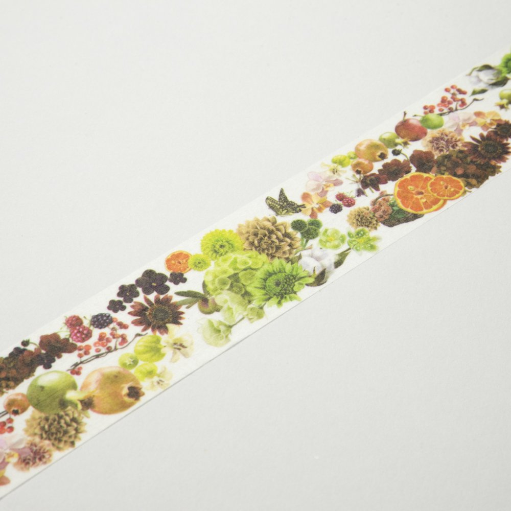yano design - マスキングテープ Flower Line 30mm / Beige&Fruit