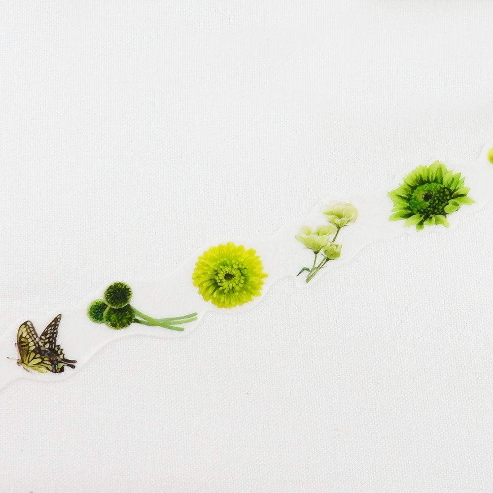yano design - 型抜きマスキングテープ series Flowers for collage / green