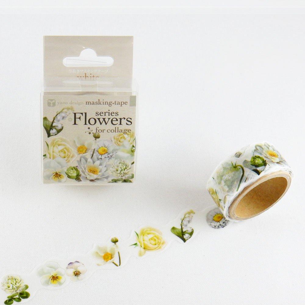 yano design - 型抜きマスキングテープ series Flowers for collage / white