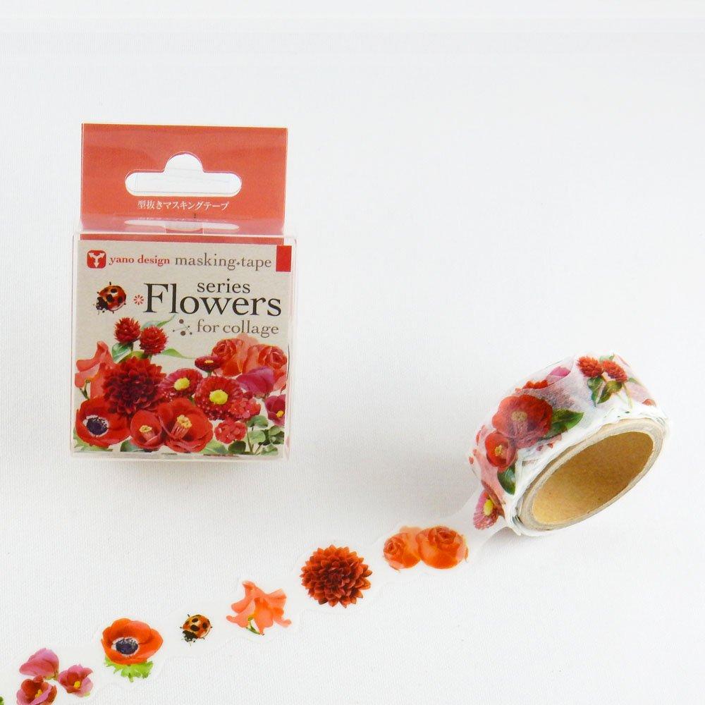 yano design - 型抜きマスキングテープ series Flowers for collage / red