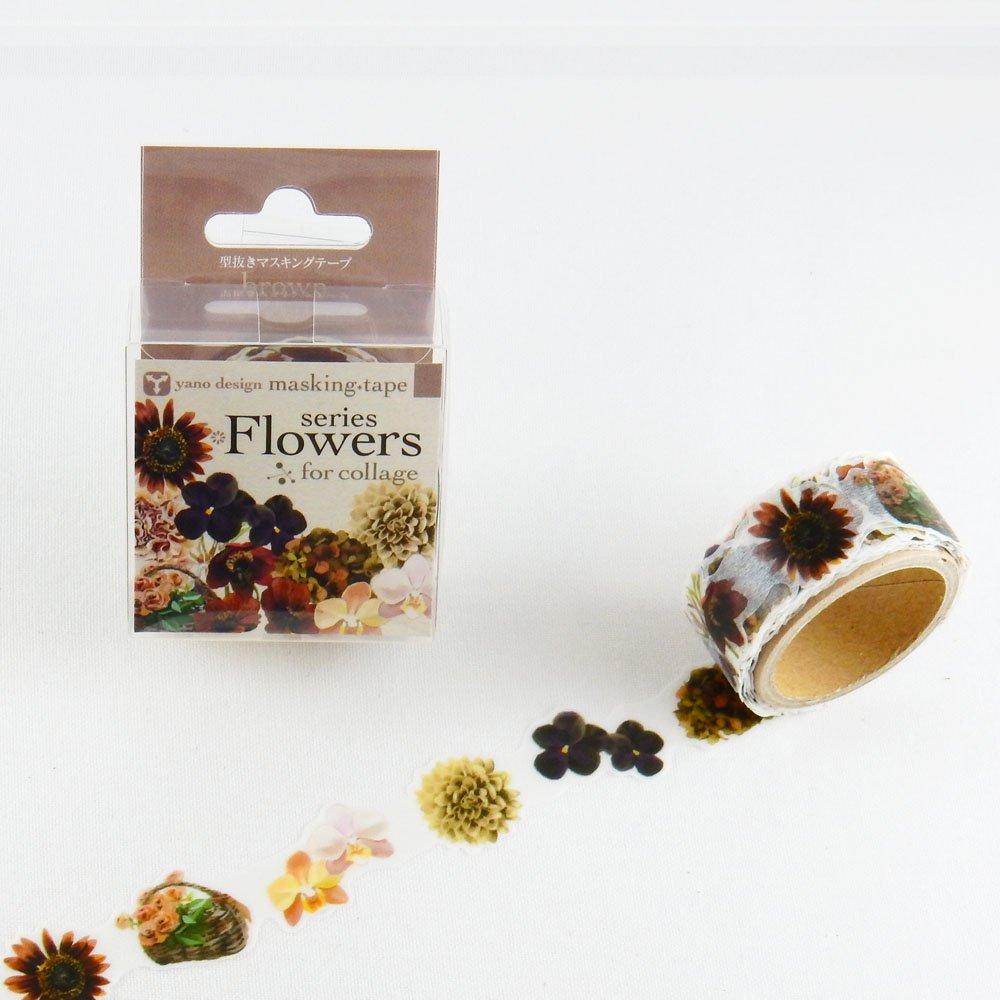 yano design - 型抜きマスキングテープ series Flowers for collage / brown