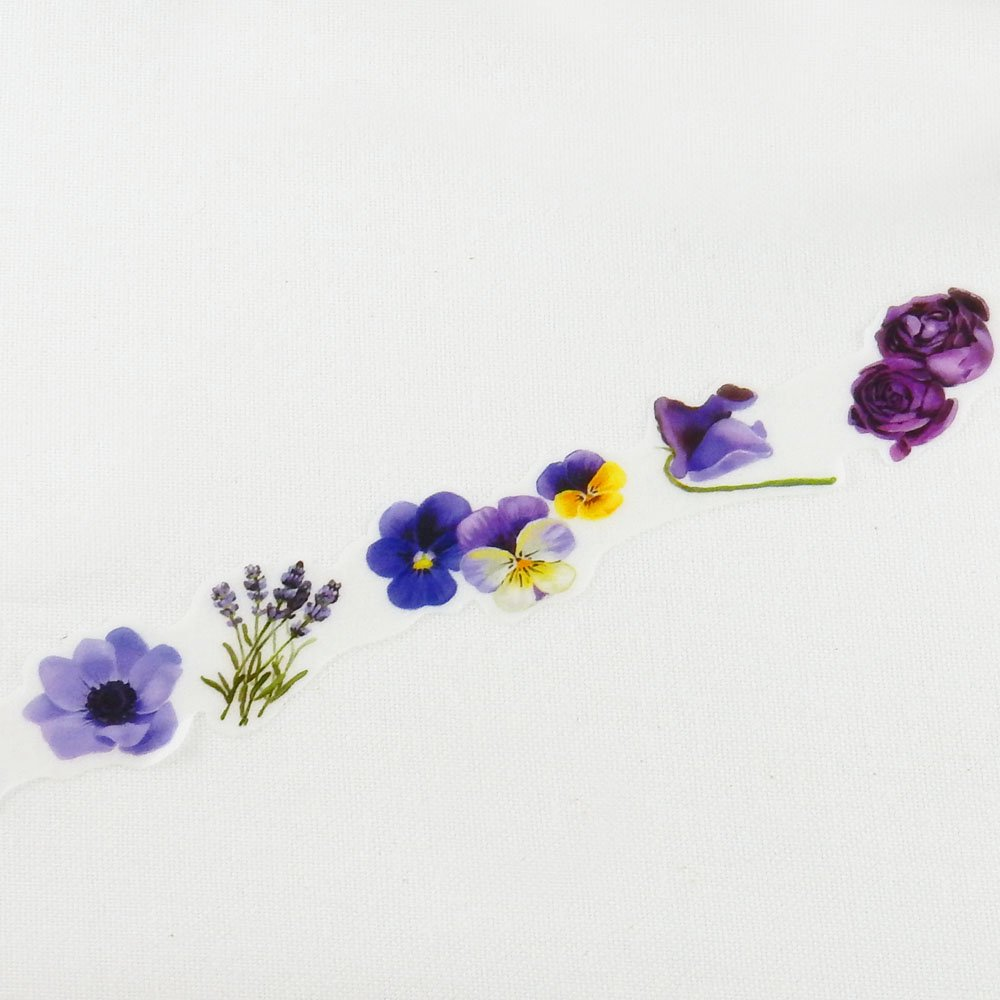 yano design - 型抜きマスキングテープ series Flowers for collage / purple