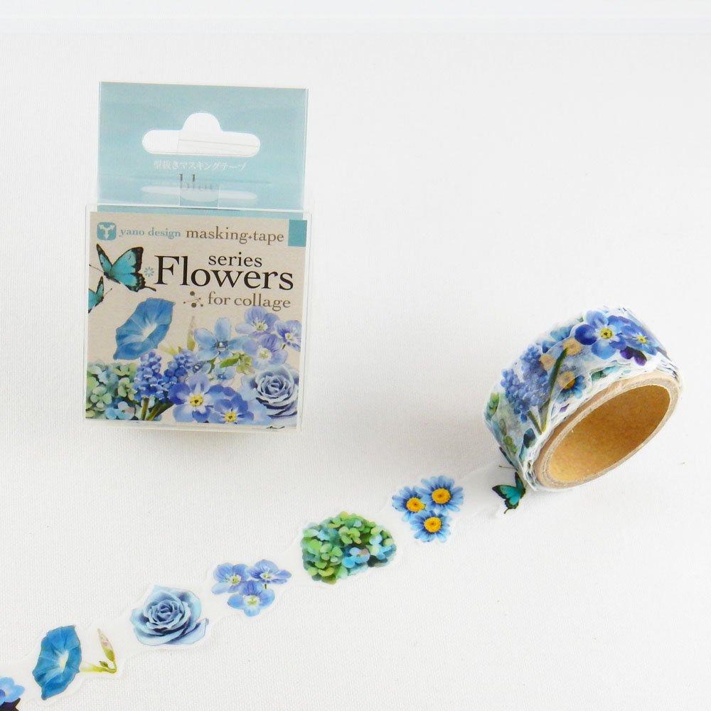 yano design - 型抜きマスキングテープ series Flowers for collage / blue