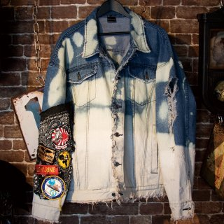 【2時間限定】KinCrossWorld  Remake Bleach Denim Jacket