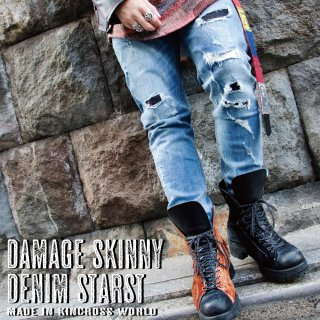 <img class='new_mark_img1' src='//img.shop-pro.jp/img/new/icons24.gif' style='border:none;display:inline;margin:0px;padding:0px;width:auto;' />【SUMMER SALE】KinCrossWorld Damage Skinny Denim