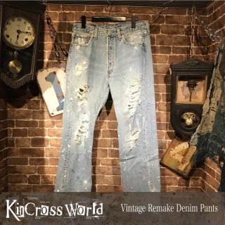 <img class='new_mark_img1' src='//img.shop-pro.jp/img/new/icons24.gif' style='border:none;display:inline;margin:0px;padding:0px;width:auto;' />【SUMMER SALE】KinCrossWorld Vintage Remake Denim Pants【50%OFF】