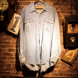 RESURRECTION Vintage damage denim shirt #1