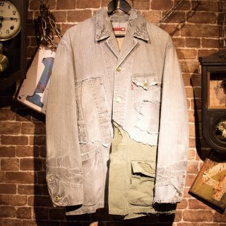 RESURRECTION Different fabrics Sewn Denim coverall Jacket