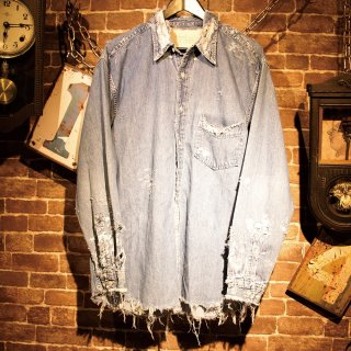 RESURRECTION Vintage damage denim shirt #2
