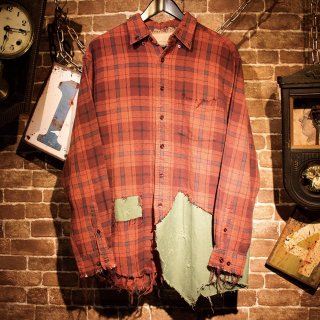 RESURRECTION Different fabrics Sewn Check Shirt