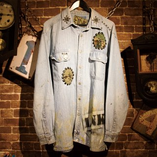 £iNK Studs Custom Stripe Denim Shirt