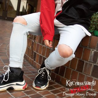 <img class='new_mark_img1' src='//img.shop-pro.jp/img/new/icons41.gif' style='border:none;display:inline;margin:0px;padding:0px;width:auto;' />【BIG SUMMER SALE】KinCrossWorld Damage Skinny Denim