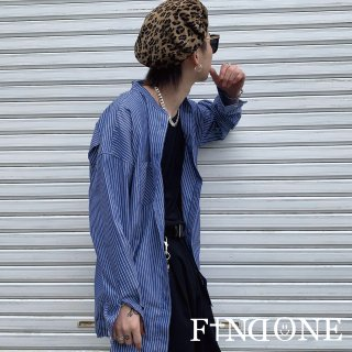 【3/21 22:00〜販売開始】F1ND ONE No Collar Top Stripe shirt