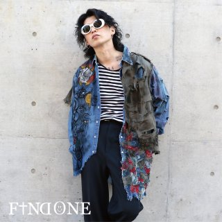 【12/4 22:00〜販売開始】F1ND ONE Remake Grunge Denim shirt