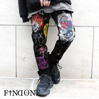 【1/18 22:00〜販売開始】F1ND ONE Barbed Skull Denim Pants