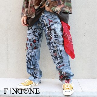 【2/21 22:00〜販売開始】F1ND ONE Punk Clash Denim Pants